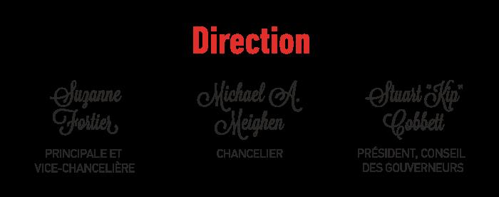 """Direction: Suzanne Fortier, Principale et vice-chancelière; Michael A. Meighen, chancelier; Stuart """"Kip"""" Cobbett, Président, conseil des gouverneurs"""