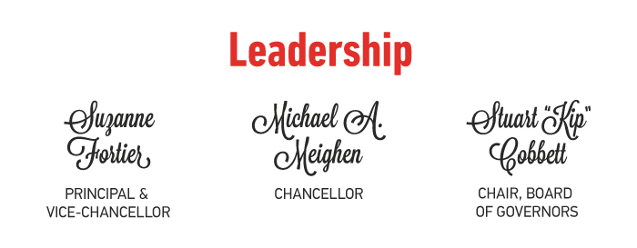 "Leadership: Suzanne FOrtier, Principal and Vice Chancellor; Michael A Meighen, Chancellor; Stuart ""Kip"" Cobbett, Chair, Board of Governors"