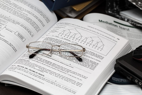 Photo of glasses on a book