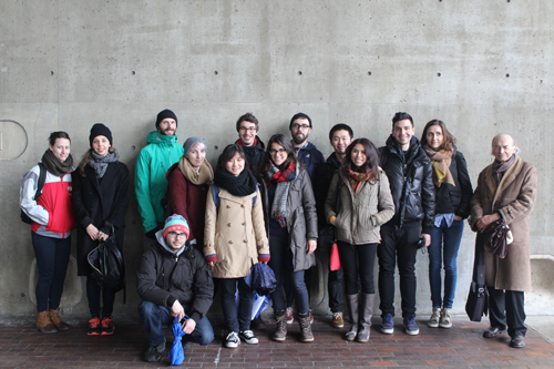 Field trip to Boston and Cambridge (ARCH 525, Seminar on Analysis and Theory), March 14, 2015, with Prof. Radoslav Zuk (far right). Main entrance to Gund Hall, Graduate School of Design, Harvard University.
