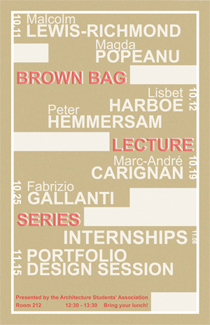 Brown Bag lecture series poster, Fall 2016 (Odile Lamy & Thibaud Gagnon-Guimond)