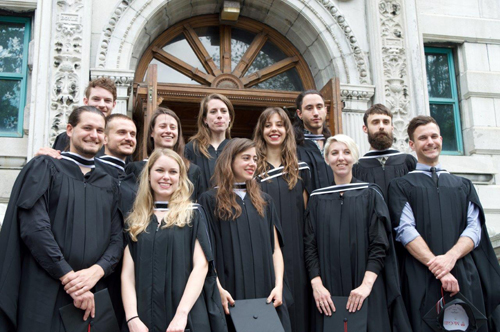 Members of the graduating M.Arch. (Professional) class on Convocation day, 27 May 2015, on the School steps (Juan Osorio)