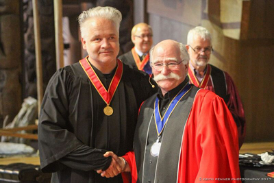 King (left) with Barry Johns, Chancellor of the College of Fellows (Keith Penner)