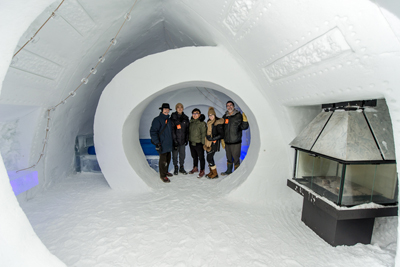 Prof. David Covo, Hongwun Antony Suh, Shengkun Tommy Yang, Marina Dentico, and administrative officer David Krawitz in McGill room at Ice Hotel