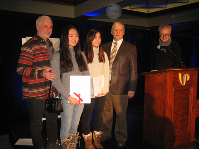 Second prize for Rêve Étoilé, awards ceremony at the Ice Hotel, 20 January 2017 (left to right: artistic director Pierre L'Heureux, Biying Wang, Jessica Cheng, administrator of Caisse Desjardins des Rivières of Québec André Maheux, and competition jury president Philippe Lupien)