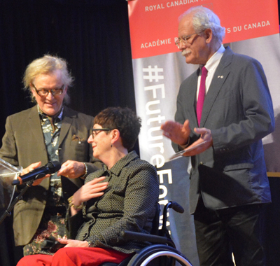 Robert Mellin (right) and RCA Past-President Joseph-Richard Veilleux present the RCA Medal to arts advocate Kim Fullerton at the May 2017 RCA Annual General Assembly in Toronto