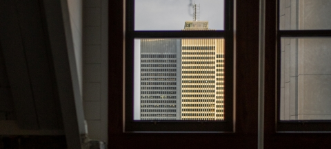 A downtown building as seen from a window in the School of Architecture.