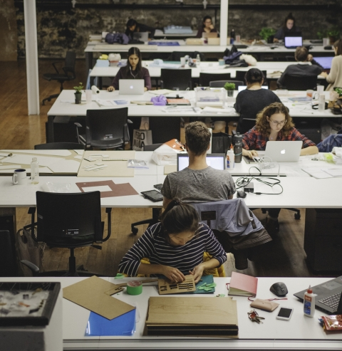 Students Working at Desks