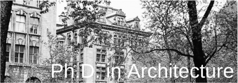 """Macdonald-Harrington Building in Black and White with the words """"PhD in Architecture"""" written over it."""""""