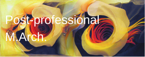 """Graphic Image of Yellow Flowers with """"Post-Professional M.Arch"""" written on top."""