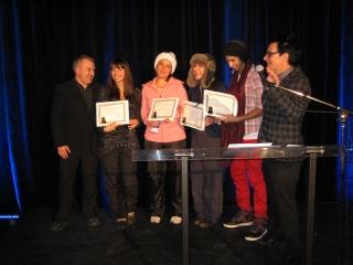 McGill team at Ice Hotel opening night, receiving first prize (David Krawitz)