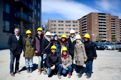 Site visit by UDH students to the Cavendish Condominium Project with Prof. Avi Friedman (3rd from right) and architect Stephano Domenici (far left) in April 2016 (photo: Samina Mazumder Tuli)