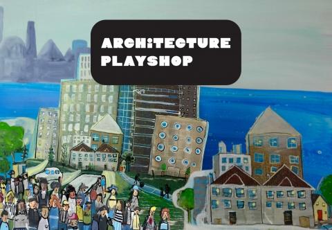 Architecture Playshop logo on top of a city landscape.