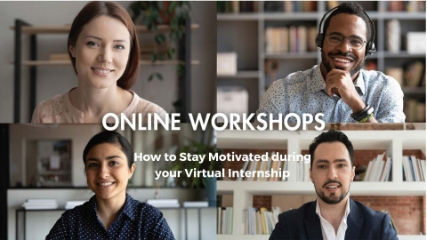 A poster for the workshop, with an image showing four smiling video call participants