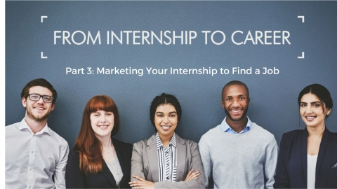 A poster image for the workshop with five smiling interns dressed in smart-casual attire