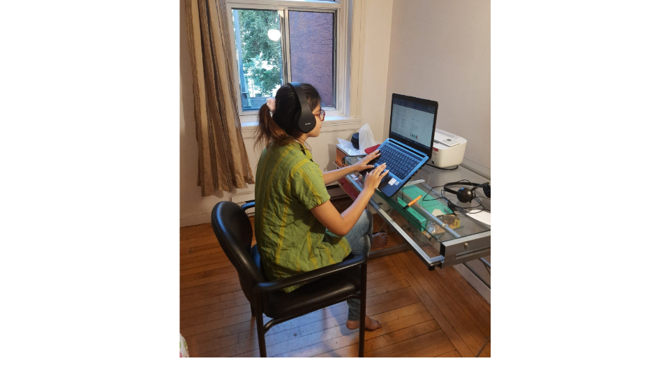 Ananya Luthra working remotely.