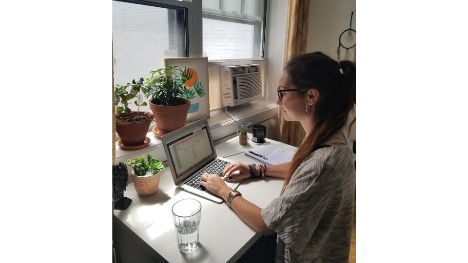 Claire Berthelot working remotely.