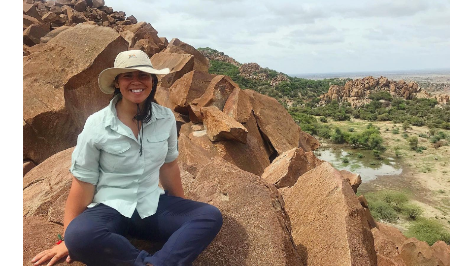 Emily Draicchio recording rock art in India during her internship with the Maski Archaeological Project (MAP), 2019.