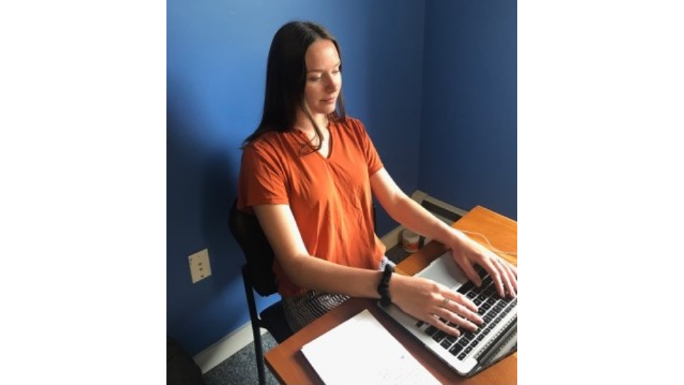 Collette Anton in Vermont, preparing for a remote meeting with the ICF team.