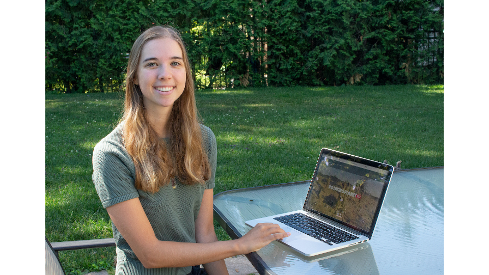 Sarah Ford conducting her internship for Rotating Planet Productions from her home in Montreal.