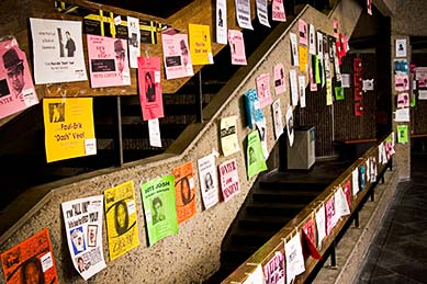 Posters for student elections line the stairway in the Leacock corridor.