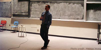 Student giving a talk during the 2002 BUGS MBSU Symposium