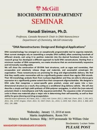 Hanadi Sleiman, Ph D / Seminar Title: