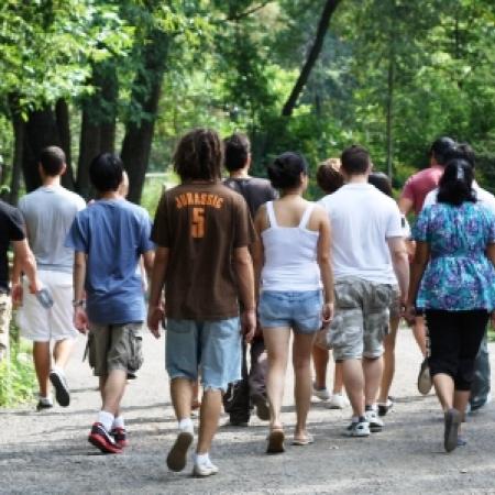 Bioresource Engineering students enjoy a stroll through the Morgan Arboretum