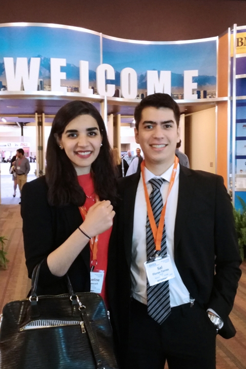 Jaqueline Kort Mascort and Salvador Flores Torres in front of the BMES conference center