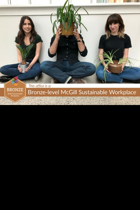 Aimee Jabour, Andy Catalano and Antonella Fratino from the Department of Bioengineering holding plants for our bronze certification poster