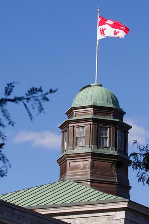 Picture of the McGill Flag on the Arts Building