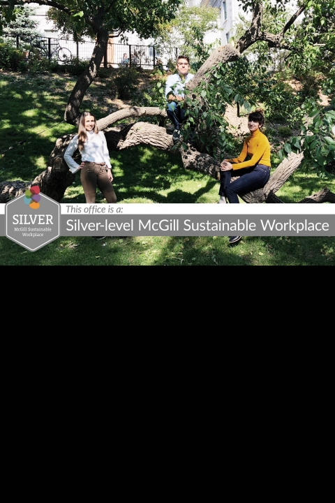 (L to R) Picture of Aimee, Andy and Antonella by a tree on campus