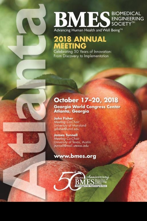 Cover page of the Biomedical Engineering Society's program. It includes information about the conference with peaches as the background.