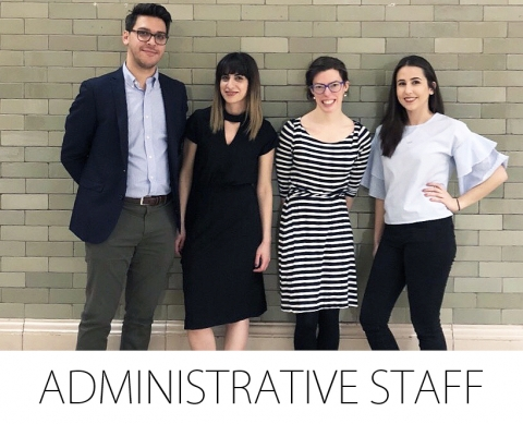 Administrative staff members: Andy Catalano, Antonella Fratino, Audrey Ferlatte, and Aimée Jabour.