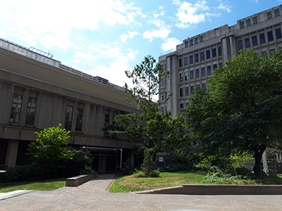 the courtyard of Stewart Biology Building, facing the west block