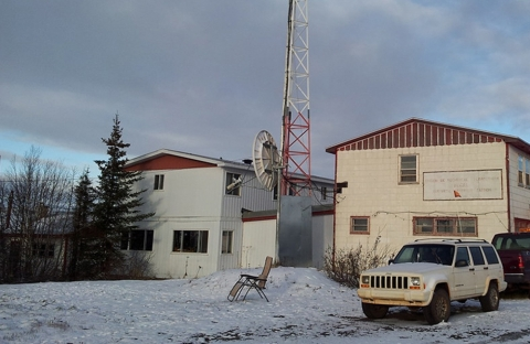 Two research buildings in northern quebec, snow on the ground