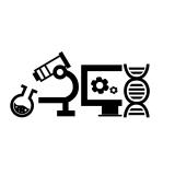 test tube, microscope, computer screen, DNA helix