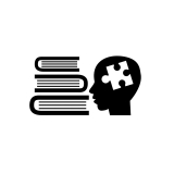 stack of books, head silhouette with a puzzle piece in place of brain