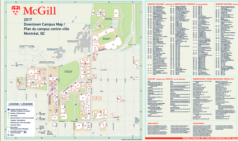 Mcgill Campus Maps 2017 2018 Campus Planning And Development