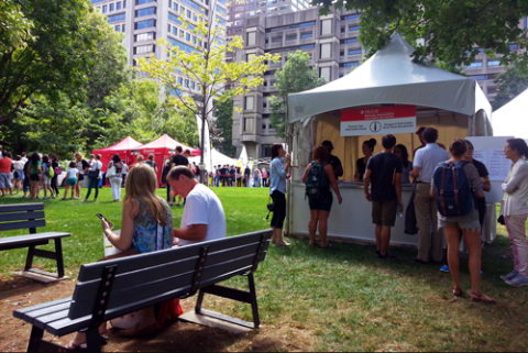 People at an outdoor event on McGill's downtown campus