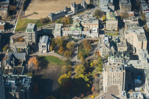 Aerial view of McGill's downtown campus