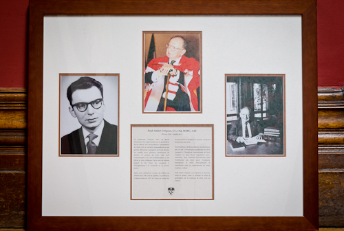 A commemorative mosaic of photos of Prof. Paul-André Crépeau.