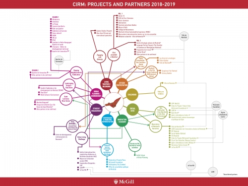 Diagram presenting CIRM's 14 partners and 60 projects for the year 2018-2019.