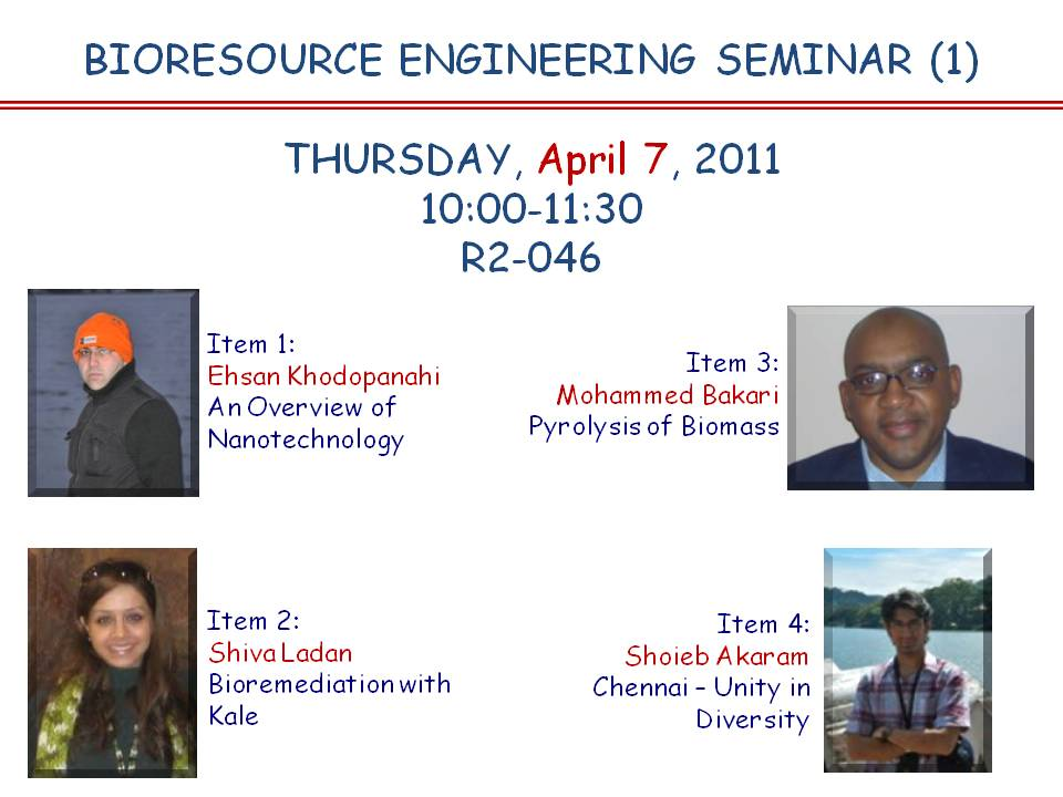 BIORESOURCE ENGINEERING SENIOR SEMINAR | Channels - McGill University