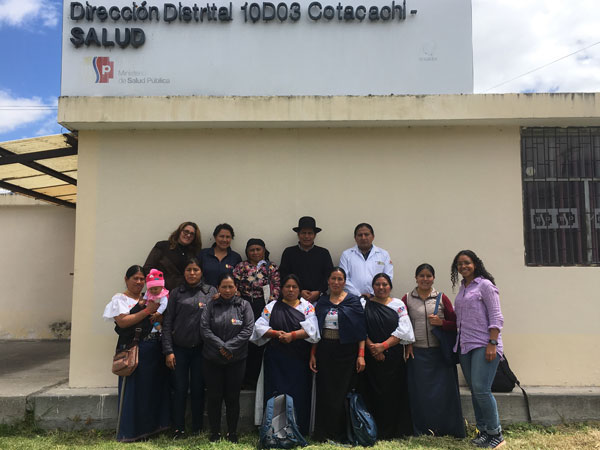 Nardin (right) with community health workers (including co-investigators Juana Morales and Luz Maria Conejo) at a regional public health office in northern Ecuador