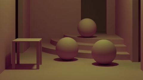 computer generated image with a table and three balls on stairs
