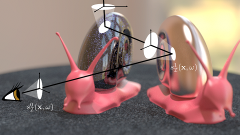 two pink snails with shiny and sparkly shells