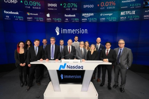 Immersion group standing at table at NASDAQ