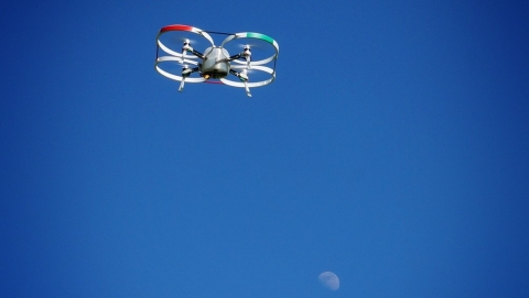 quadcopter drone in sky