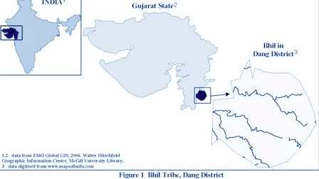 Map showing location of of Bhil